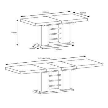 Bild 10 - Design Esstisch HE-111 Weiß - Grau Hochglanz ausziehbar 160 / 210 / 260 cm