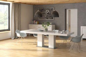 Bild 3 - Design Esstisch HE-111 Weiß - Grau Hochglanz ausziehbar 160 / 210 / 260 cm