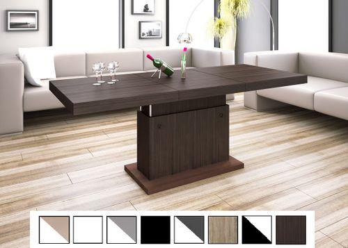 Design Couchtisch Tisch H-333 Walnuss - Wenge / Nussbaum höhenverstellbar ausziehbar Esstisch