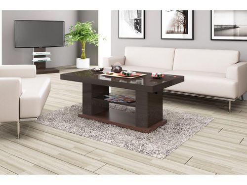 Design Couchtisch Tisch HN-777 Braun / Nussbaum Hochglanz höhenverstellbar ausziehbar