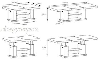 Bild 3 - Design Couchtisch Tisch HN-777 Braun / Nussbaum Hochglanz höhenverstellbar ausziehbar