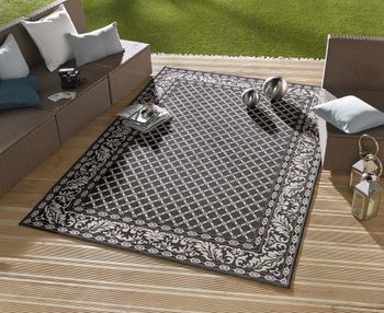 Bild 2 - In- & Outdoor Design Teppich Terrasse Wintergarten 160 x 230 cm Royal Schwarz OD-2