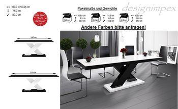 Bild 7 - Design Esstisch HE-888 Weiß / Schwarz Hochglanz ausziehbar 160 - 210 cm