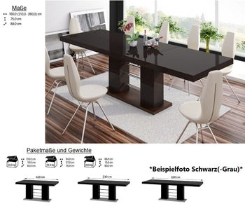 design esstisch he 111 braun nussbaum hochglanz ausziehbar 160 210 260 cm hochglanz esstische. Black Bedroom Furniture Sets. Home Design Ideas