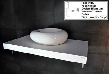 Bild 2 - Edler Waschtisch Waschtischplatte Waschkonsole Weiß mit Halterung WT-100 Carl Svensson