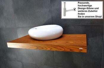 Bild 2 - Edler Waschtisch Waschtischplatte Waschkonsole Teak inklusive Halterung WT-100 Carl Svensson
