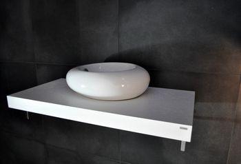 Edler Waschtisch Waschtischplatte Waschkonsole Weiß mit Halterung WT-80 Carl Svensson
