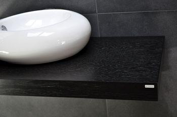 Bild 4 - Edler Waschtisch Waschtischplatte Waschkonsole Schwarz mit Halterung WT-80 Carl Svensson