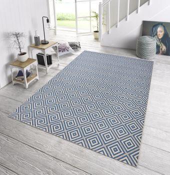 In- & Outdoor Design Teppich Terrasse Wintergarten 160 x 230 cm Karo Blau Creme OD-7