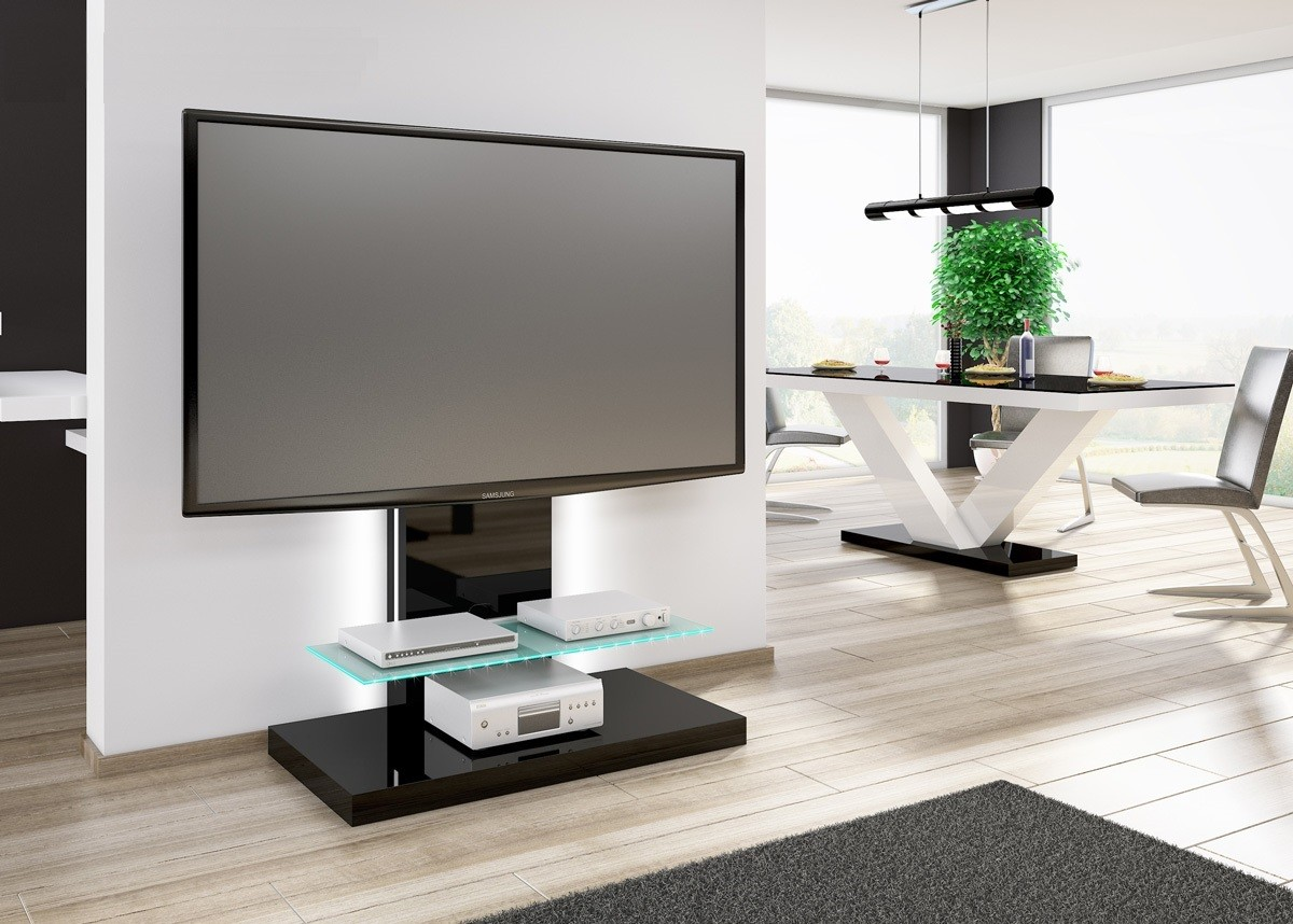 tv tisch hn 444 schwarz hochglanz tv schrank fernsehrack mit tv halterung hochglanz tv m bel. Black Bedroom Furniture Sets. Home Design Ideas