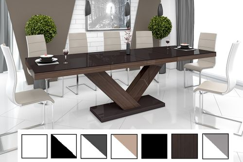 Design Esstisch Tisch HE-999 Braun / Walnuss - Wenge Hochglanz ausziehbar 160  bis 256 cm