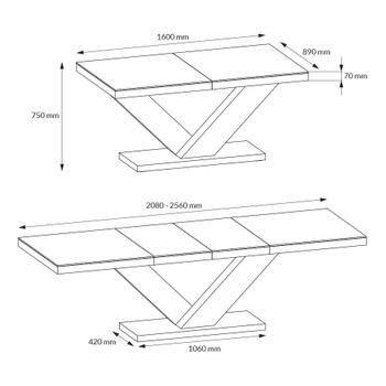 Bild 6 - Design Esstisch HE-999 Braun / Walnuss - Wenge Hochglanz ausziehbar 160 / 208 / 256 cm