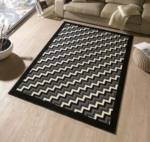 Design Teppich Step 160 x 230 cm Schwarz / Grau UT-22