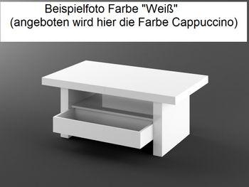 Bild 4 - Design Couchtisch Aversa H-111 Cappuccino Hochglanz Schublade höhenverstellbar ausziehbar