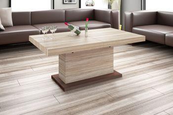 Design Couchtisch Tisch H-333 Sonoma Eiche / Nussbaum höhenverstellbar ausziehbar