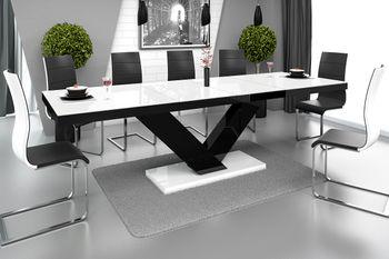 Design Esstisch Tisch HE-999 Weiß / Schwarz Hochglanz ausziehbar 160 bis 256 cm
