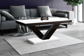 Design Couchtisch HV-888 Weiß / Schwarz Hochglanz Highgloss Tisch Wohnzimmertisch