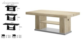 Bild 2 - Design Couchtisch HN-777 Sonoma Eiche - Grau höhenverstellbar ausziehbar Tisch
