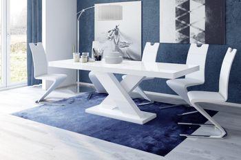 Bild 3 - Design Esstisch HE-888 Weiß Hochglanz ausziehbar 160 - 210 cm