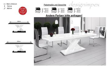 Bild 4 - Design Esstisch Tisch HE-888 Weiß Hochglanz ausziehbar 160 bis 210 cm