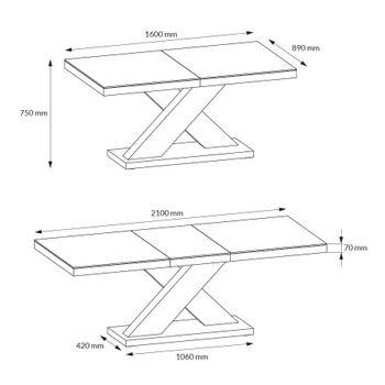 Bild 8 - Design Esstisch Tisch HE-888 Weiß Hochglanz ausziehbar 160 bis 210 cm