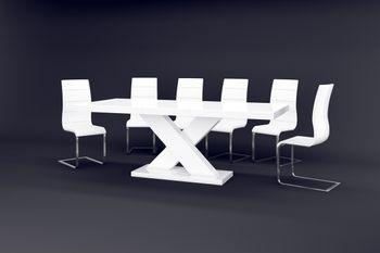 Bild 7 - Design Esstisch HE-888 Weiß Hochglanz ausziehbar 160 - 210 cm