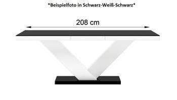Bild 5 - Design Esstisch Tisch HE-999 Weiß Hochglanz ausziehbar 160 bis 256 cm