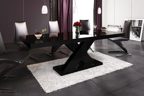 Design Esstisch HE-888 Schwarz Hochglanz ausziehbar 160 - 210 cm