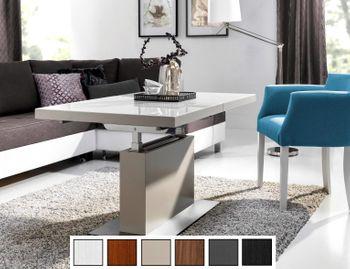 Design Couchtisch Tisch MN-3 Creme Seidenmatt Glas Champagner höhenverstellbar & ausziehbar Esstisch