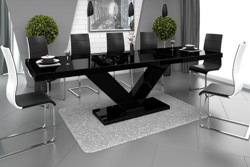 Design Esstisch HE-999 Schwarz Hochglanz ausziehbar 160 / 208 / 256 cm