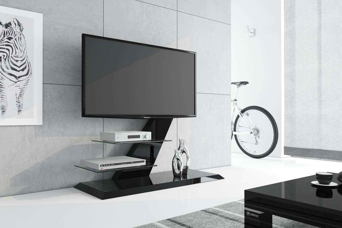 design fernsehtisch hz 111 schwarz hochglanz tv m bel tv rack lcd inkl tv halterung hochglanz. Black Bedroom Furniture Sets. Home Design Ideas