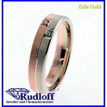 Trauring Verlobungsring Ehering echt Gold 333 GR.52 bicolor 8 Karat 246194y