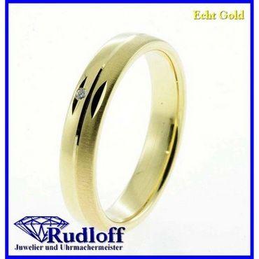 Trauring Verlobungsring Ehering echt Gold 585 14 kt. Brilliant 02/1189d/04 Gr.53