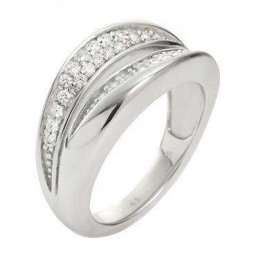 Fossil Schmuck Damen Ring 925 Sterling Silber JFS00037040 Größe 18 Zirkonia JFS00037