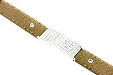 Schmuck Armband Damen Herren JA5930-02 echt Leder mit Stahlplatte Gravur gratis