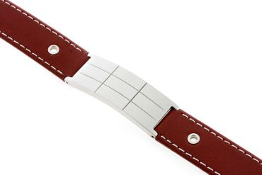 Schmuck Armband Damen Herren JA5930-05 echt Leder mit Stahlplatte Gravur gratis