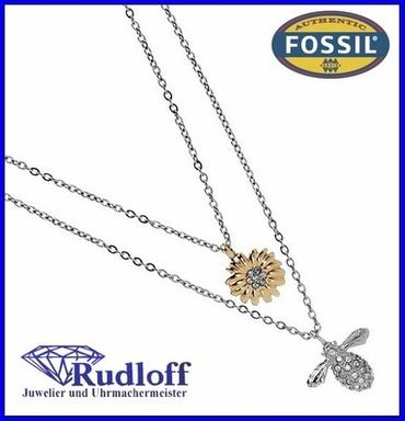 Fossil Schmuck Damen Collier Biene Blume JF00378 Edelstahl JF00378998