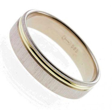 Trauring Ring bicolor Gelbgold Weißgold 585 Gr. 65 02-1131h-01