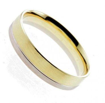 Trauring Ring bicolor Gelbgold Weißgold 585 Gr. 63 02-18210h