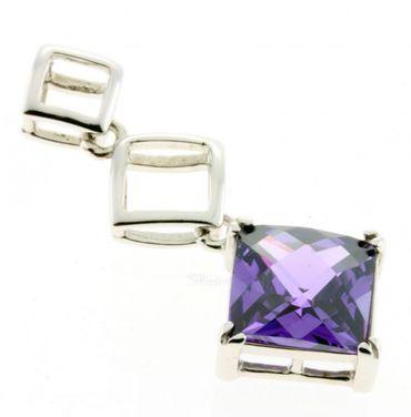Ketten Anhänger rhodiniert Silber 925 sy. Amethyst violett facettiert BE10817027