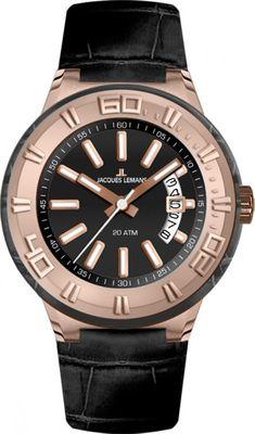 Jacques Lemans Armband Uhr Unixex Miami Analog Quarz Leder 1-1771G