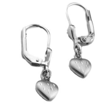 Kinder Ohrringe mit Brisur echt Silber 925 matt Herz 2222532670011