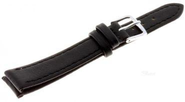 Lederband günstiges Uhren Armband echt Leder Basic 140-sw schwarz