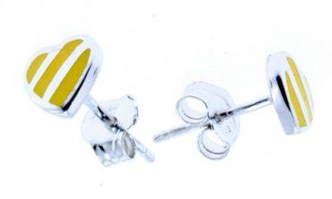 Ohrstecker Ohrschmuck Kinder Ohrringe Herzen echt Silber 925 Herz gelb P-10/G