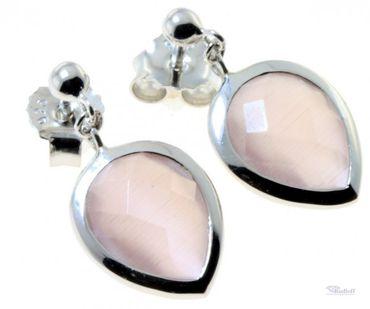 Damen Schmuck Ohrstecker Ohrringe echt Silber 925 Katzenauge rosa AE3649/R