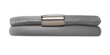 Endless Armband Leder Edelstahl 38cm Grau 12103-38