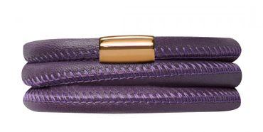 Endless Armband Leder Edelstahl vergoldet 57cm Lila 12506-57