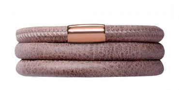 Endless Armband Leder Edelstahl rosé-vergoldet 60cm Braun 12705-60