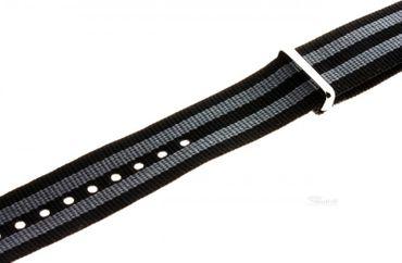 Nato Nylon Uhren Armband Ersatzband verschiedene Breiten 919gyb grau schwarz