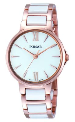 PULSAR UHR by SEIKO elegante Damenuhr PH8078X1 ladies watch Edelstahl rosé Keramik weiß